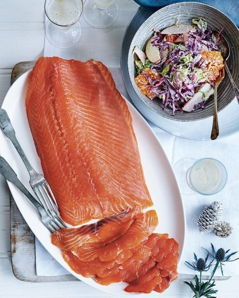 Nathan Outlaw's brandy-cured salmon with Yuletide slaw