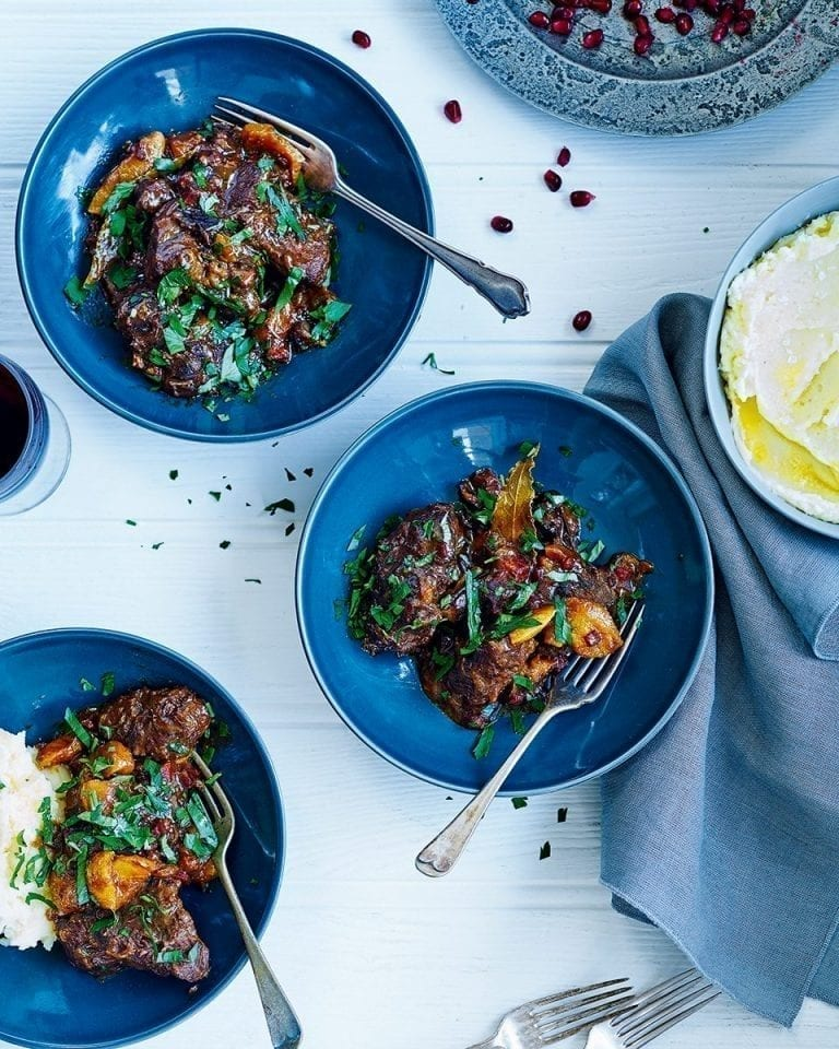 José Pizarro's oloroso braised beef with dried fruit and pomegranate
