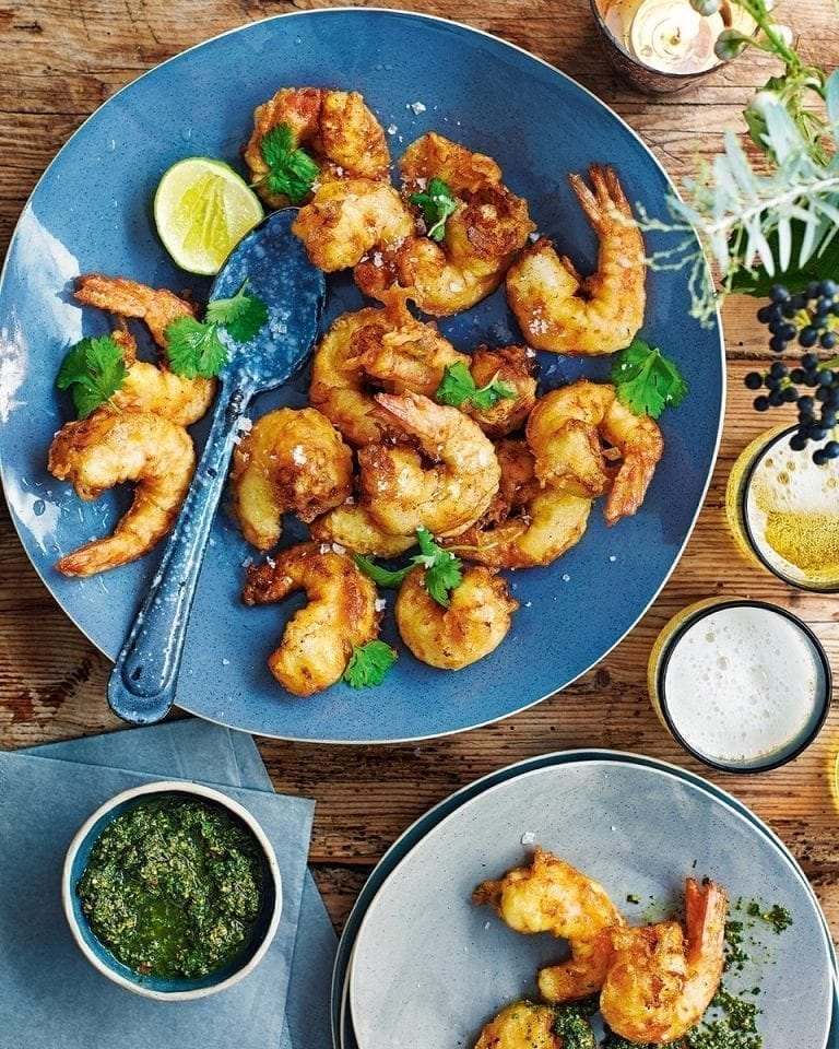 Asian-style prawns with spiced herb relish