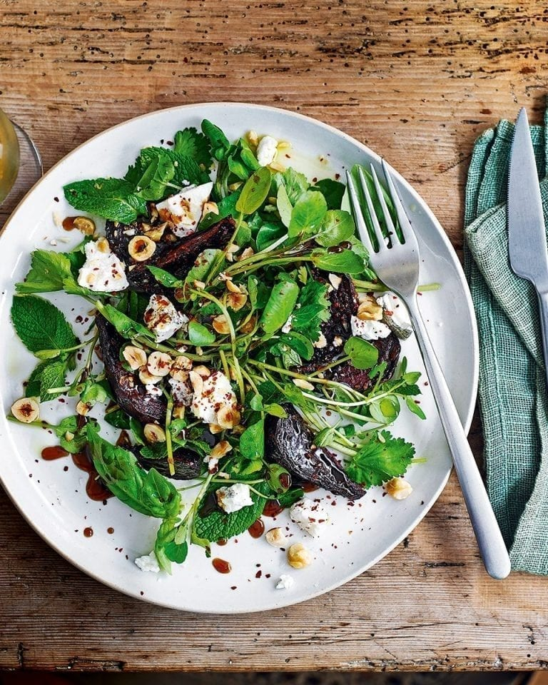 Roast beetroot, hazelnuts and goat's cheese
