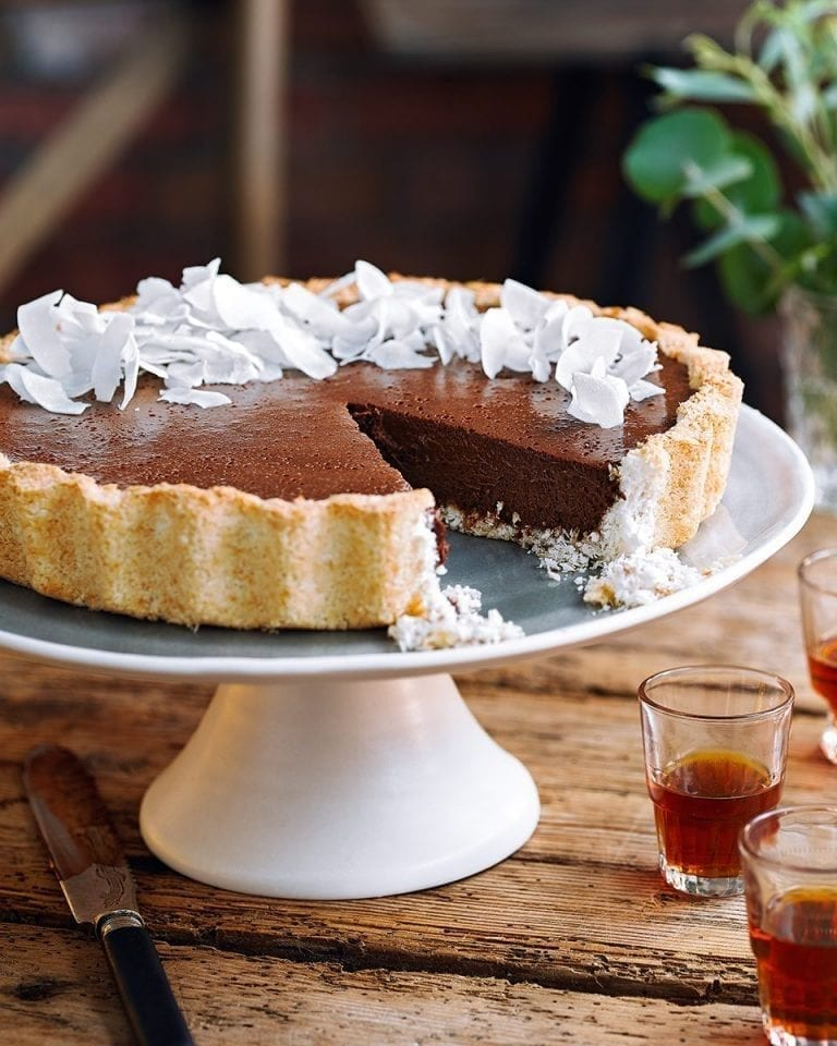 Coconut macaroon and chocolate mousse tart