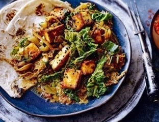 Indian paneer and cabbage curry