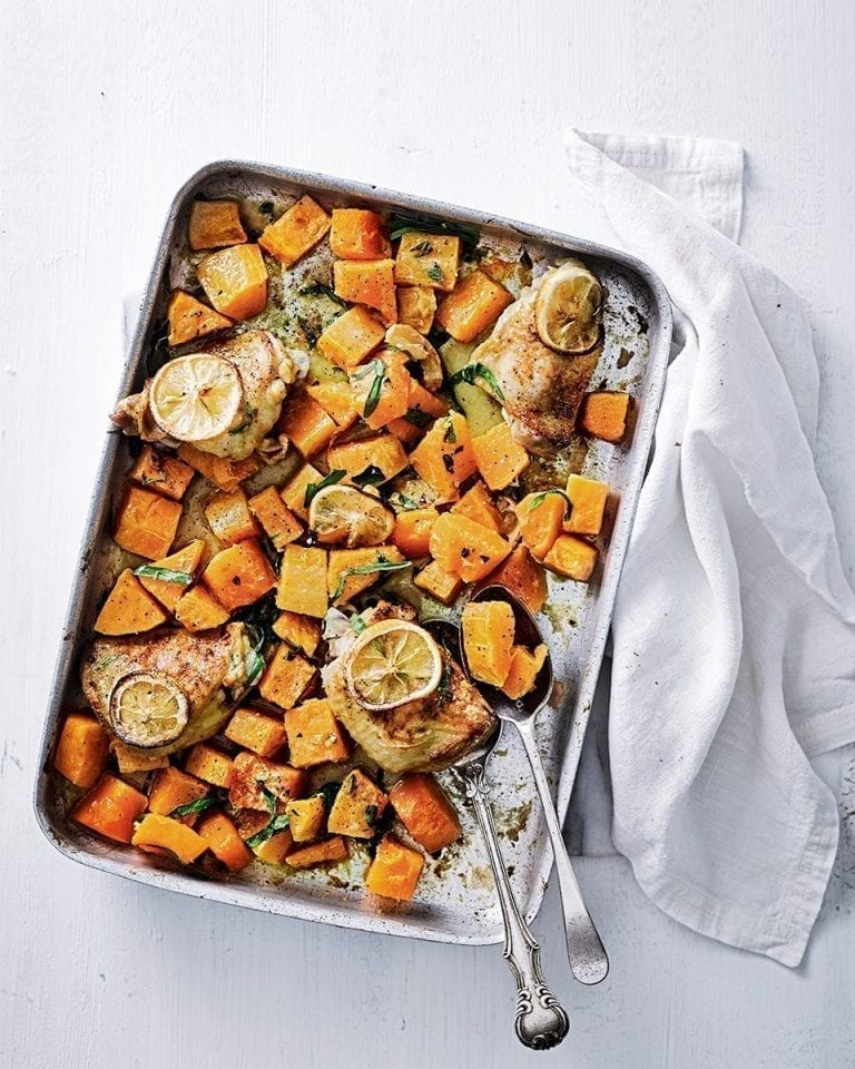 Butternut squash, chicken and tarragon traybake