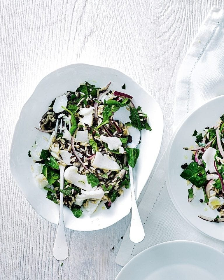 Roast cod with warm wild rice and lentil salad