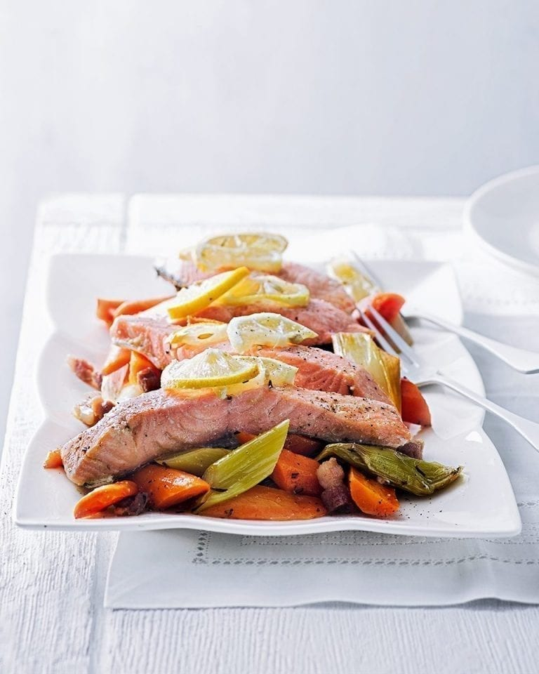 Baked lemon salmon with buttered carrots and leeks
