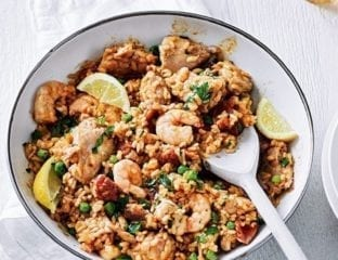 Chicken, prawn and chorizo paella
