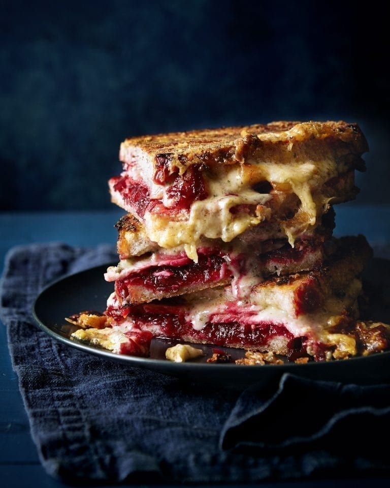 Ham, cheese and chilli beetroot chutney toastie