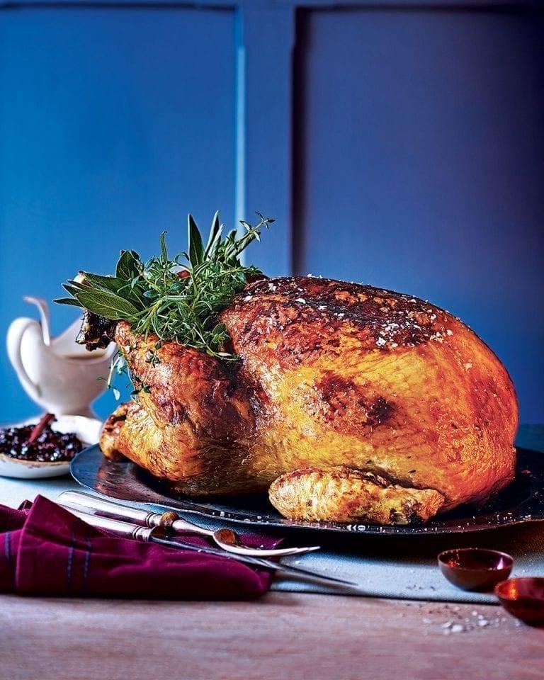 Parcel baked turkey with cider glaze