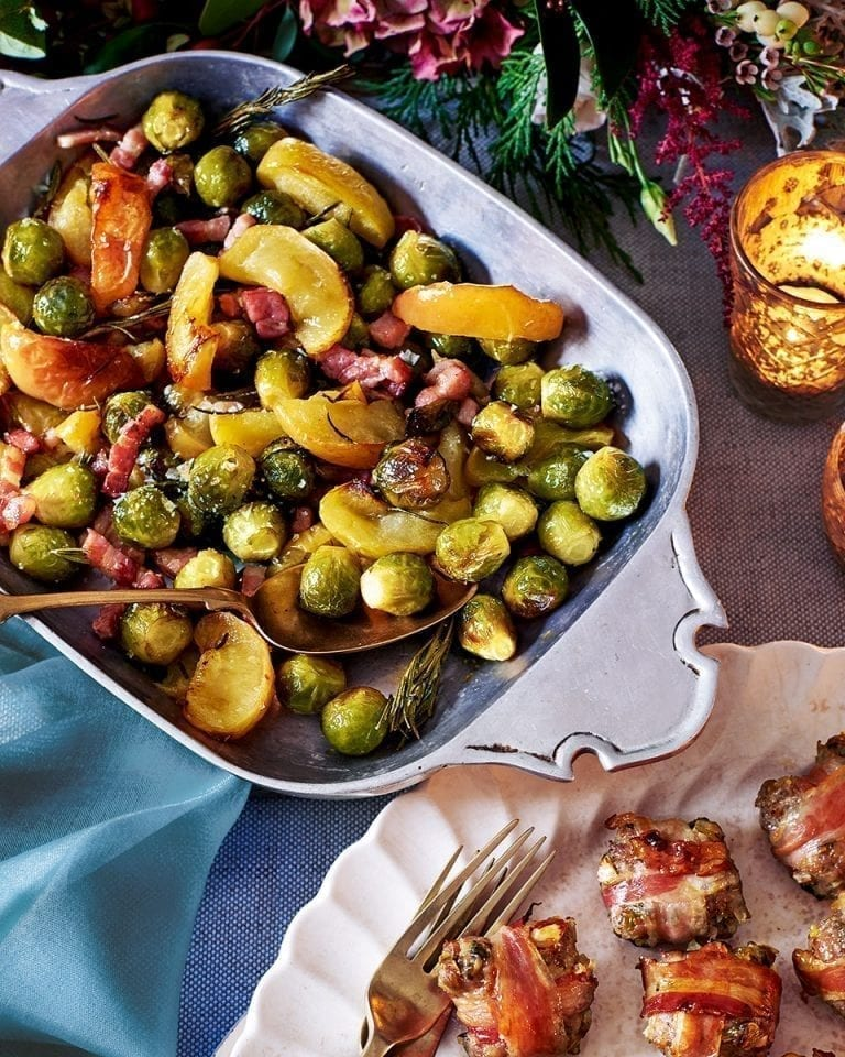 Roast sprouts, apples and pancetta