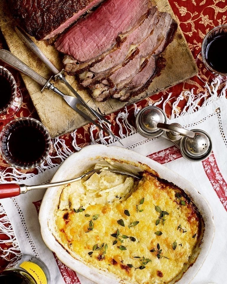 Roast beef sirloin with spiced celeriac gratin