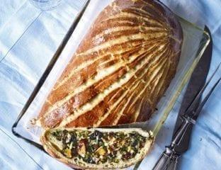 Butternut, mushroom and chestnut brioche-crust wellington