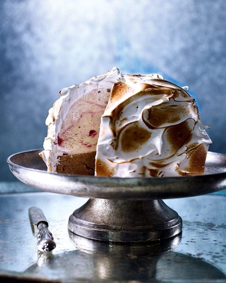 Almond sponge and raspberry ripple baked alaska