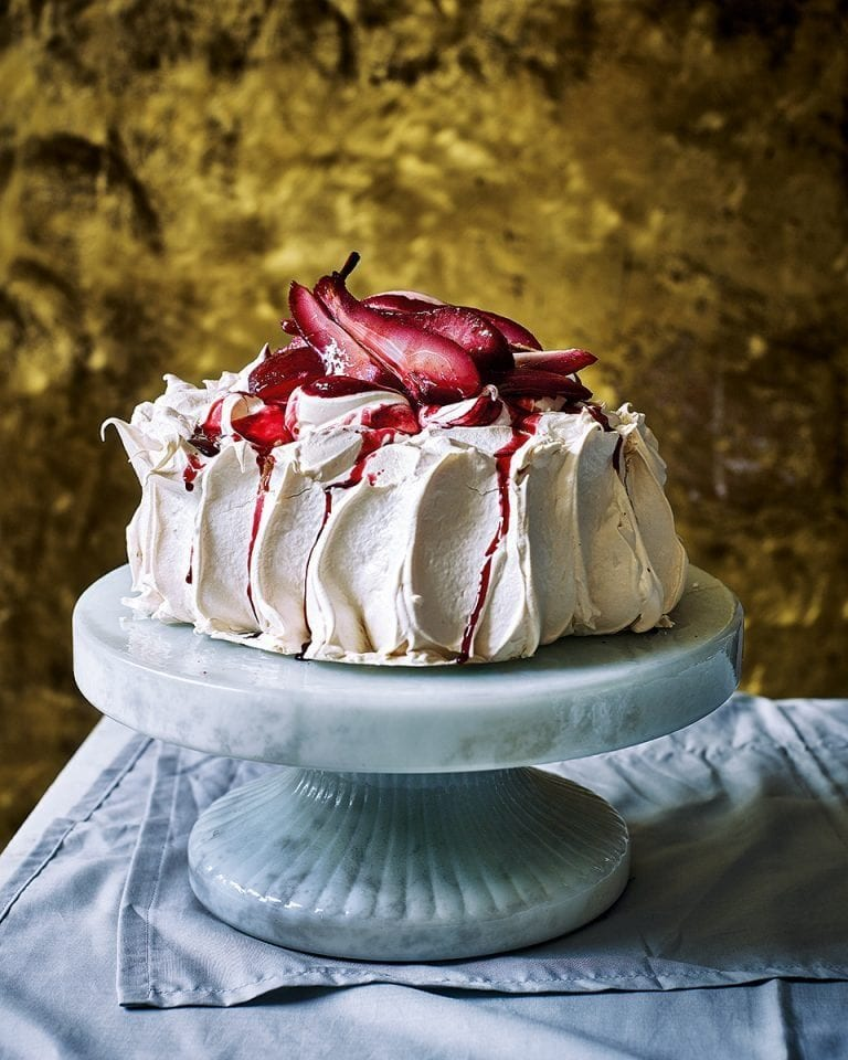 Blackberry and bay poached pear pavlova