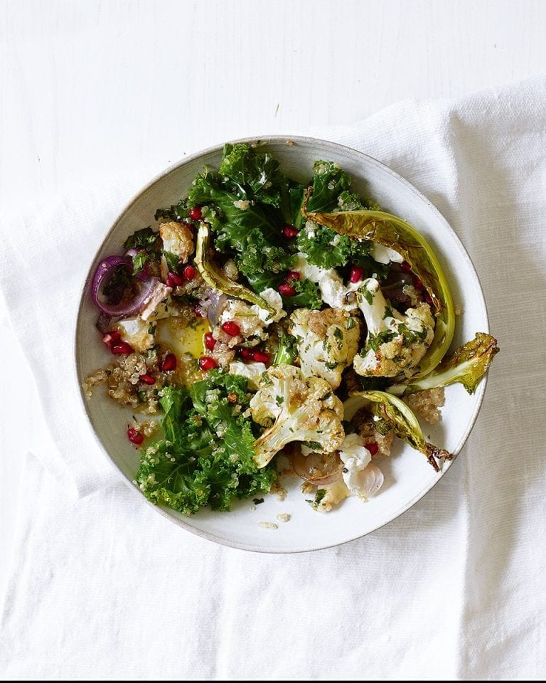 Roast cauliflower, kale and goat's cheese salad