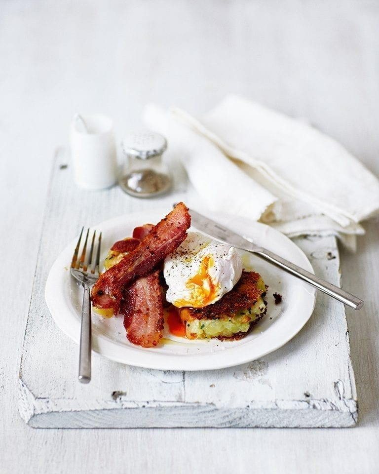 Cabbage and potato cakes with poached eggs