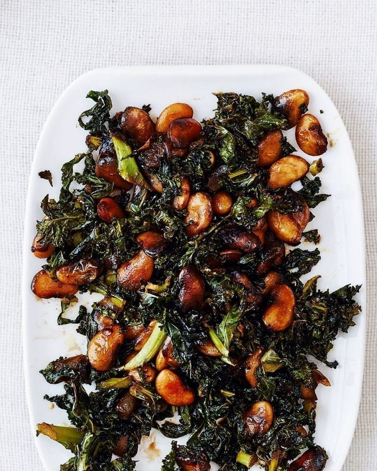 Crisp and sticky kale and butter beans with balsamic vinegar