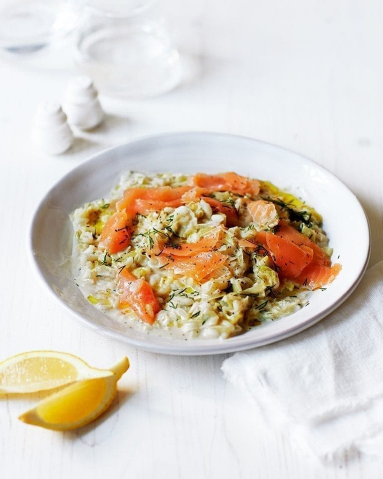 No-stir lemon, leek, smoked salmon and dill risotto