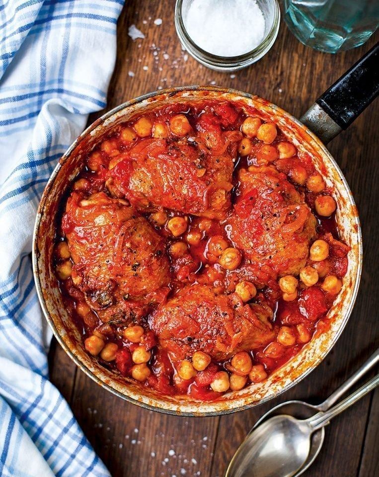 Tomato-braised chicken with chickpeas