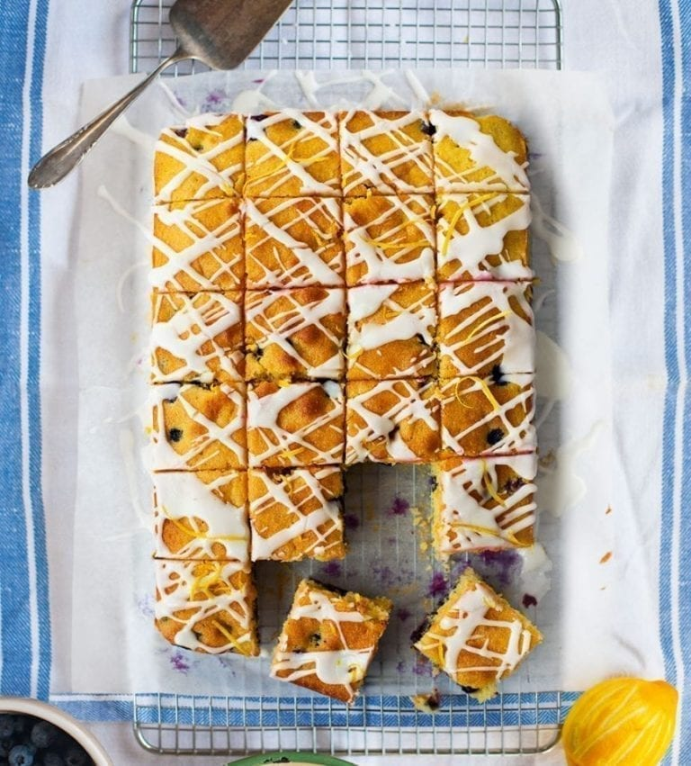 Blueberry and lemon cake squares