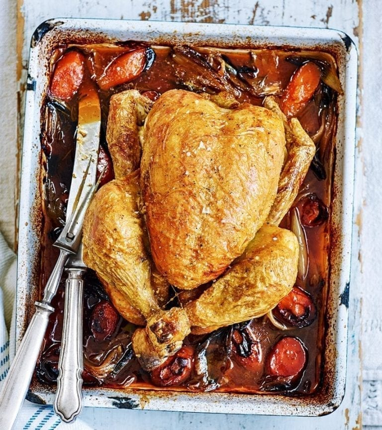 Beer and shallot roast chicken