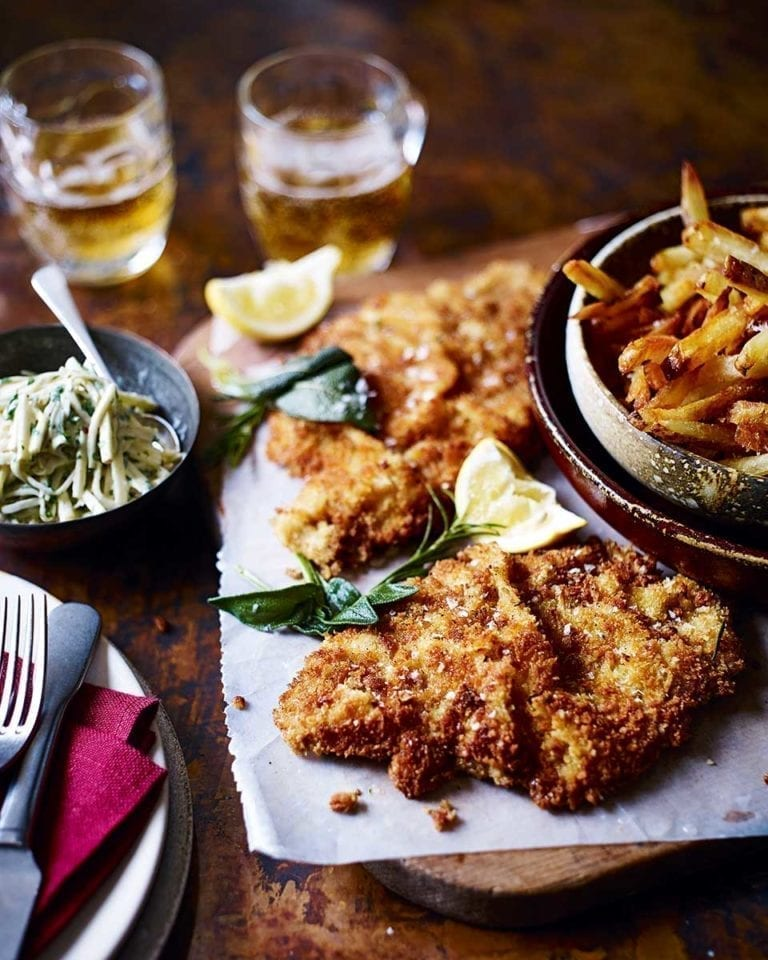 Veal schnitzel with herb butter and apple remoulade