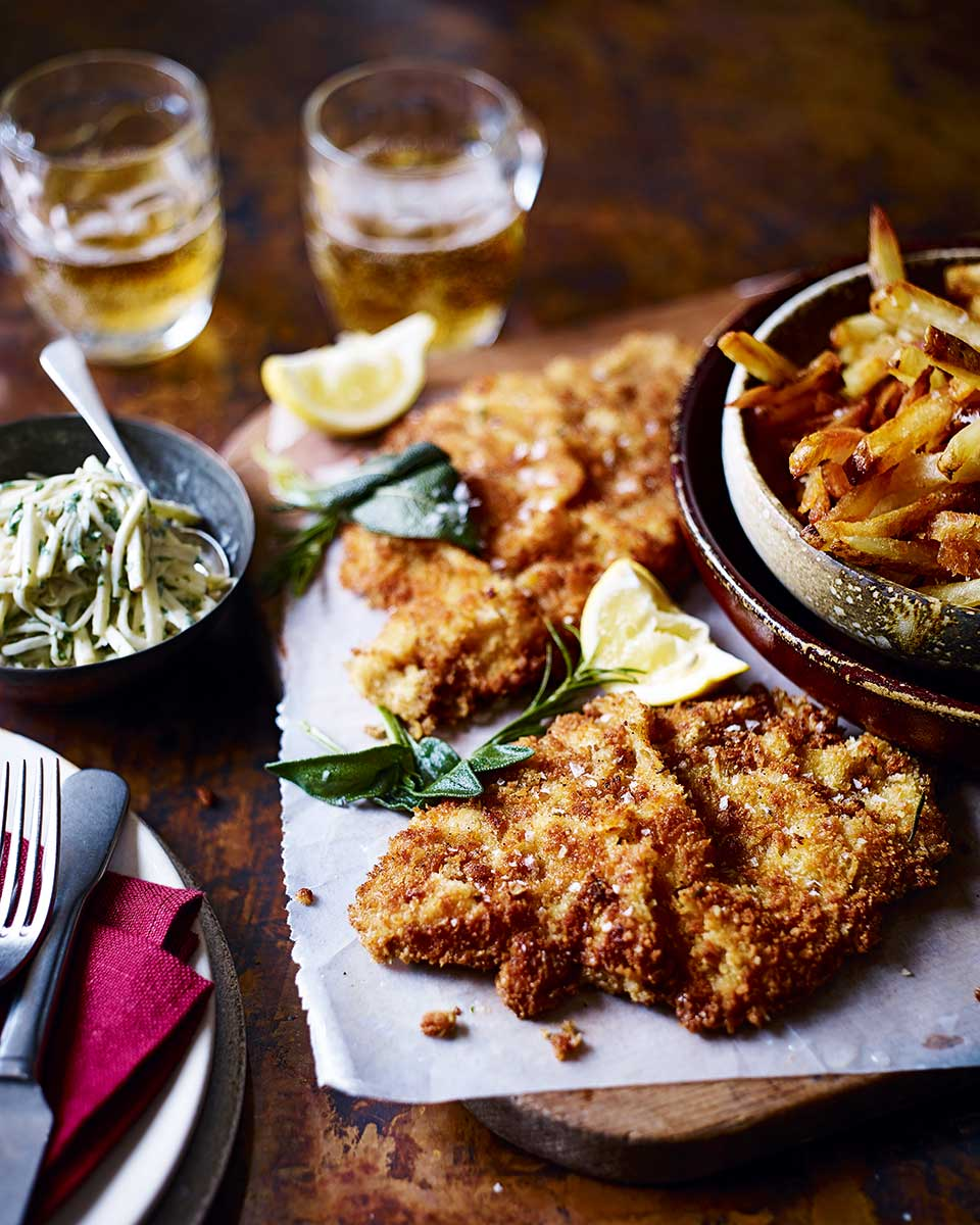 Veal schnitzel with herb butter and apple remoulade   delicious. magazine
