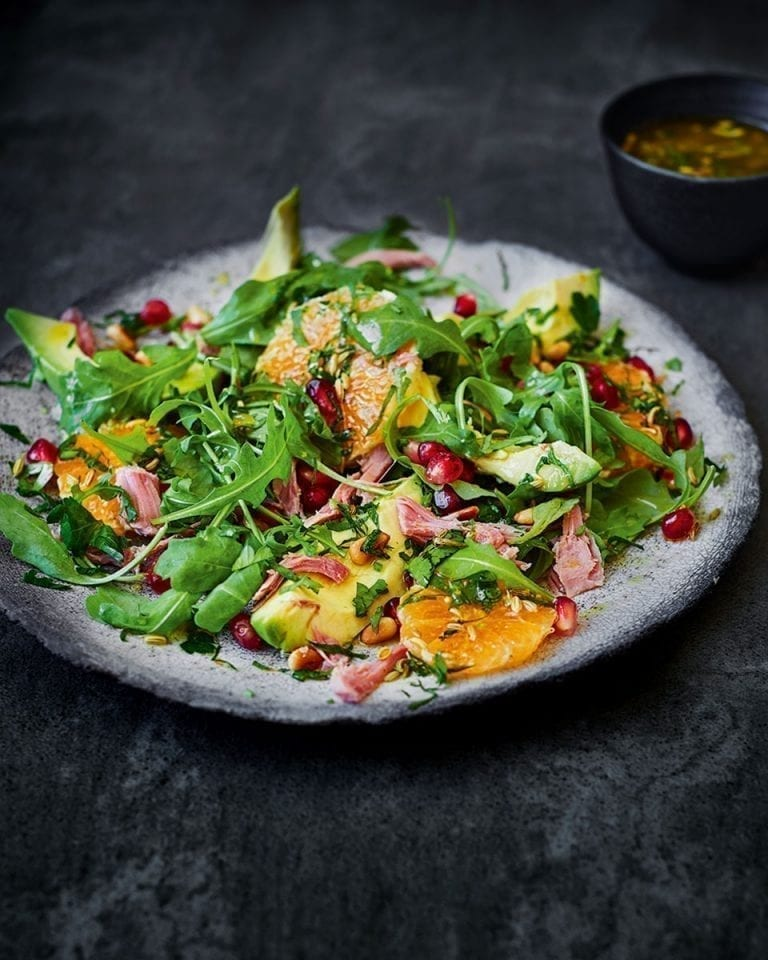 Clementine, avocado and ham hock salad