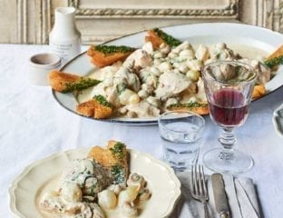 Chicken blanquette with heart-shaped croutons