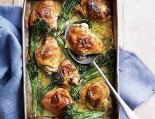 Roast chicken thighs stuffed with gorgonzola piccante, chilli and herbs
