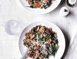 Mushroom and spinach pearl barley risotto