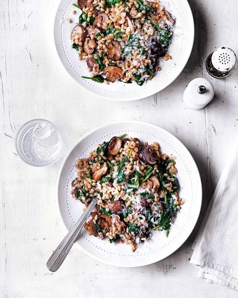 Mushroom and spinach pearl barley risotto