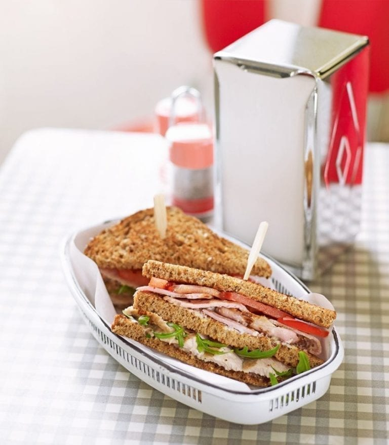 Healthier club sandwich