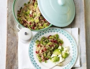 Warm quinoa salad with broad beans and pomegranate