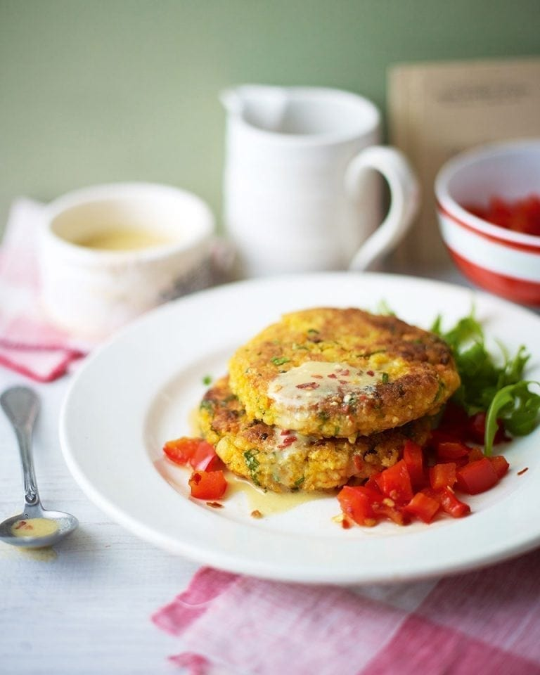 Thai-flavoured chickpea and millet cakes with red pepper sauce | delicious. magazine