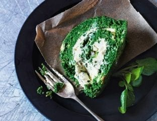 Spinach and summer herb roulade