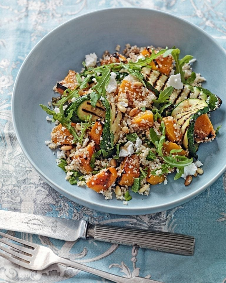 Rosemary-roasted butternut, courgette, amaranth and barley couscous salad
