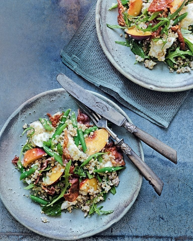 Parma ham, mozzarella and peach salad with buckwheat and quinoa