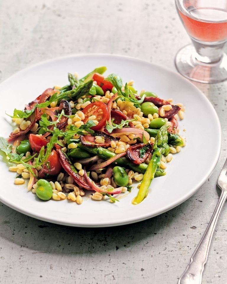 Wheat berry, broad bean, rocket and chorizo salad