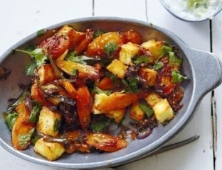 Spice-roasted carrots with paneer and sesame