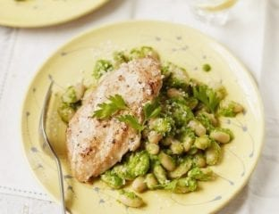 Griddled chicken with white beans and rocket pesto