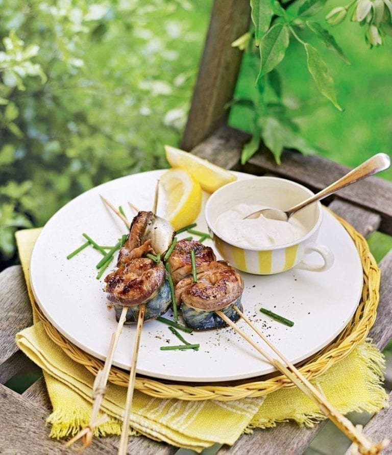 Teriyaki mackerel skewers