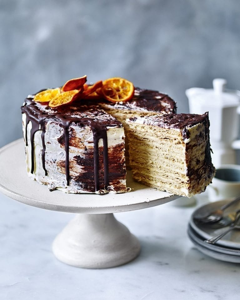 Ginger and honey biscuit cake with choc-orange icing
