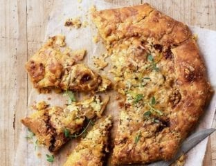 Cider-cooked apple, onion and cheese galette