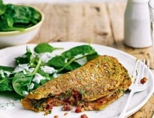 Masala omelette with spinach and soured cream dressing