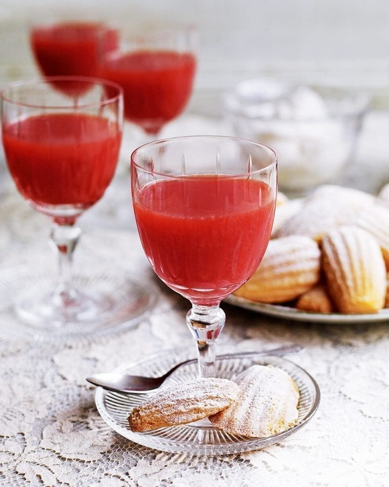 Blood orange jellies with madeleines and chantilly cream