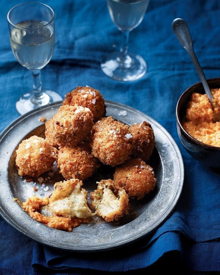 Crab croquetas with romesco dipping sauce