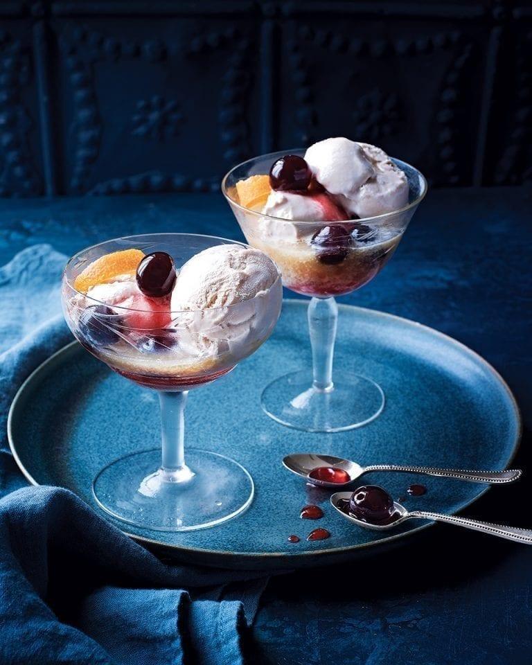 Bourbon and maple ice cream coupes