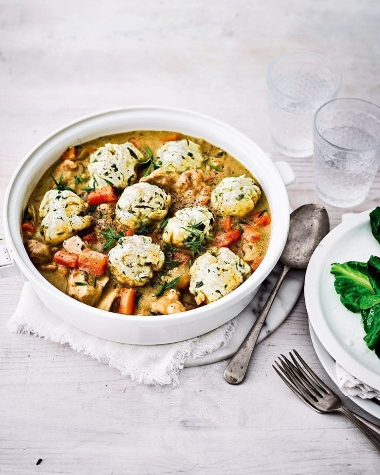 Healthier chicken casserole with tarragon dumplings