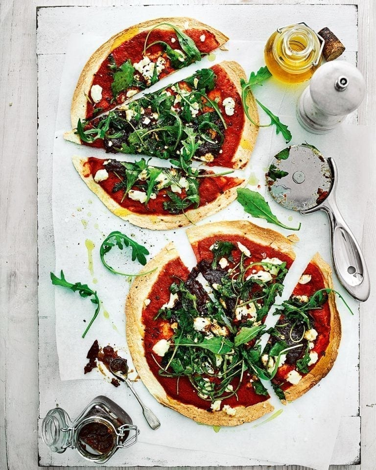 Caramelised onion chutney and goat's cheese tortilla pizza