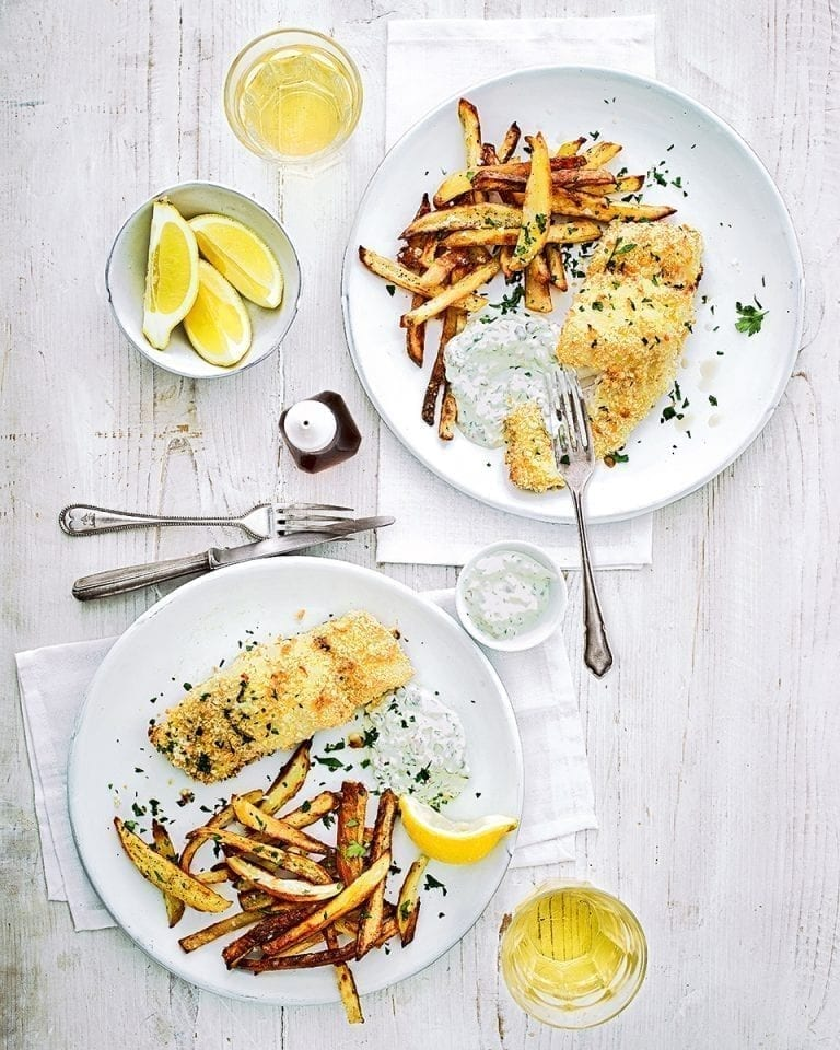 Fish and chips with lighter tartare sauce